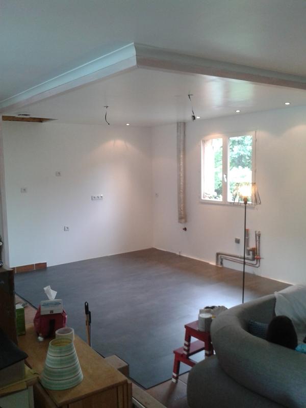 Un artisan a fait murs et plafond. Nous avons peint, puis posé le sol.