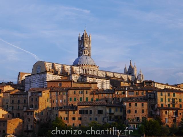 Duomo Sienne Coucher de soleil Toscane depuis le restaurant Il pomodorino